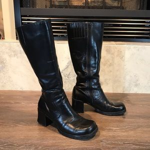 Vintage 90s Chunky Heel Leather Boots, Size 7